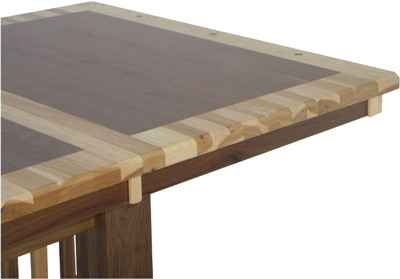 table with border in another wood