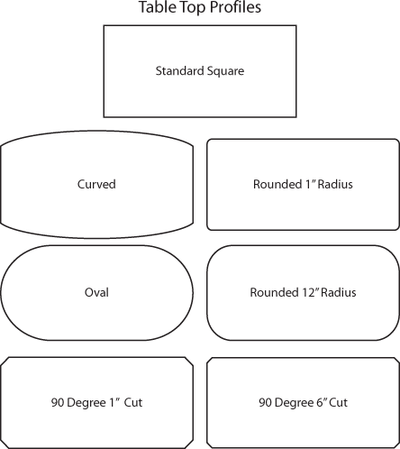 Table top profile options
